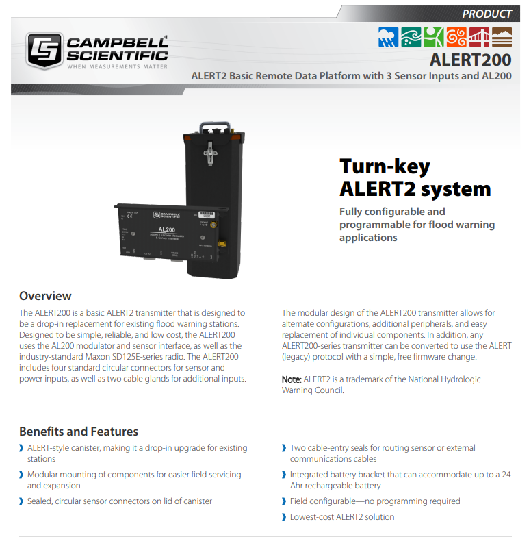campbell scientific alert200 system fully configurable and programmable for flood warning applications