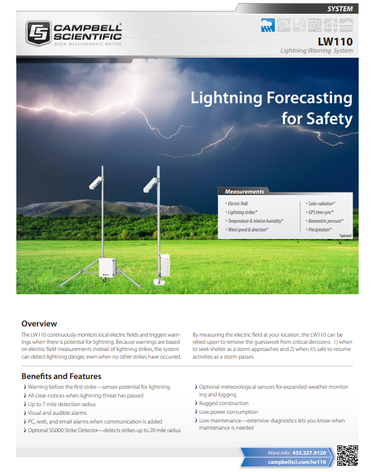 campbell scientific lw110 lightning warning system