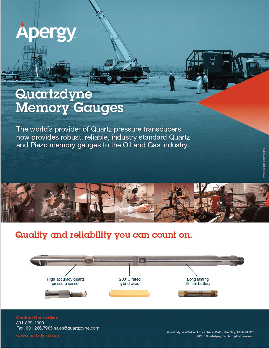 quartzdyne downhole pressure and temperature recorder for oil and gas rated to 30 000 psi and 392 f