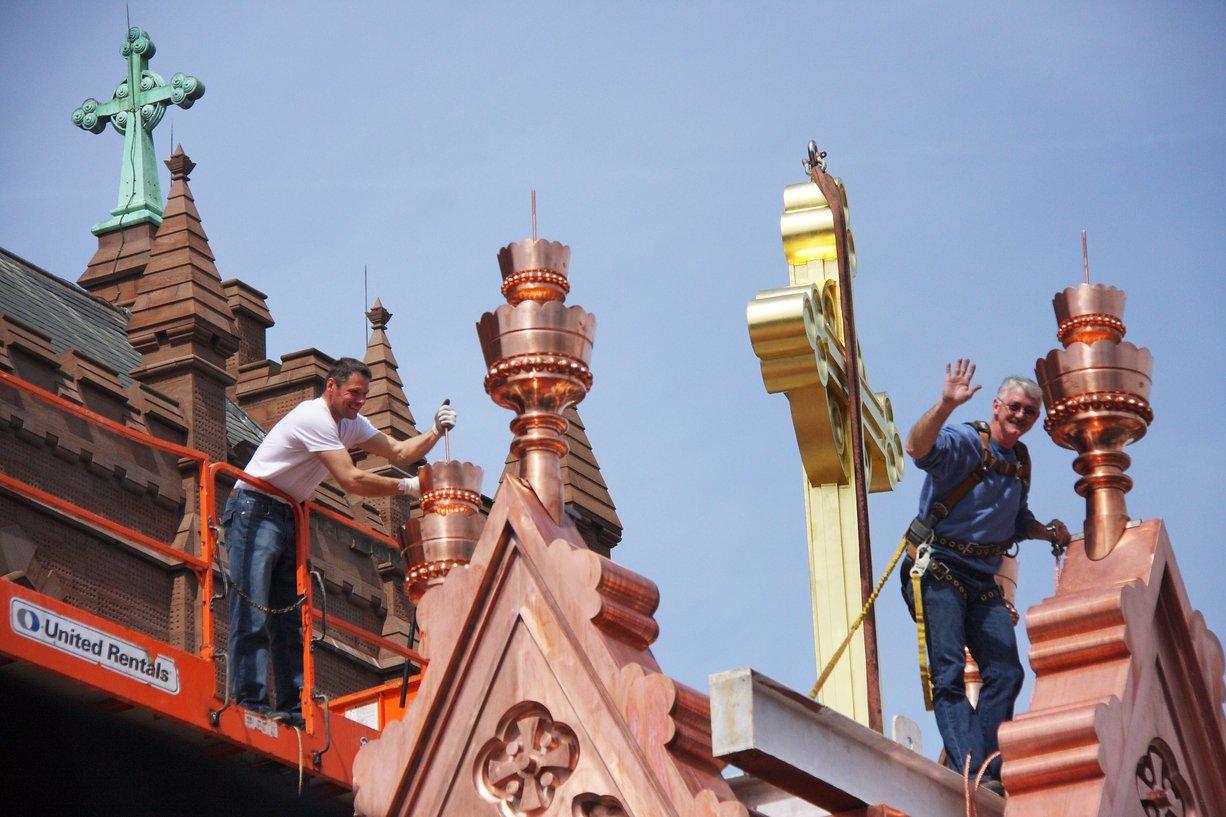 fine metal roof tech ornate copper steeple with golden cross